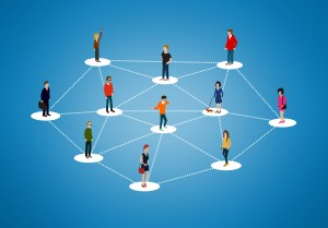 The social network - People networking and creating bonds, contacts and connections